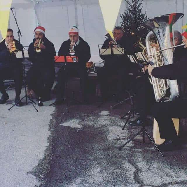 Jingle bells on request by the cool Brass band at The Factory Tap