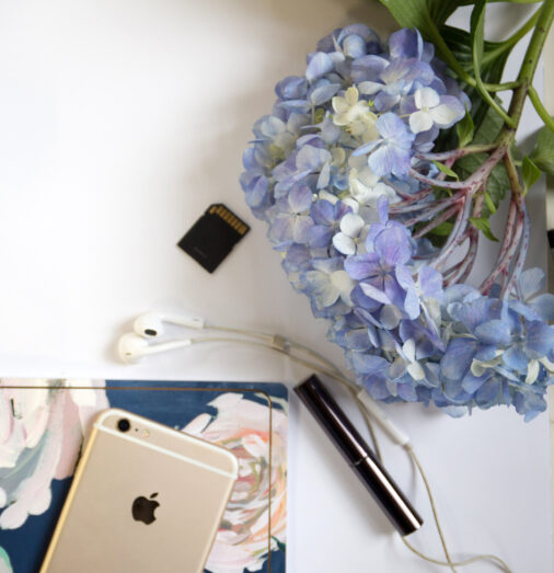 flowers notepad and phone